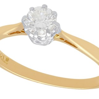 0.40 ct Diamond and 18 ct Yellow Gold Solitaire Ring - Vintage 1975