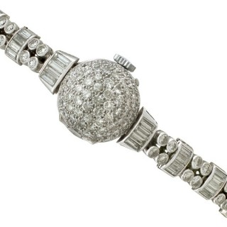 4.82 ct Diamond Admina Cocktail Watch in Platinum - Art Deco - Vintage Circa 1940