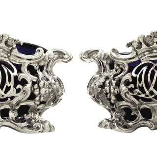 Pair of Large Antique Victorian Sterling Silver Salts with Liners 1843
