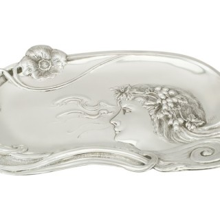 Sterling Silver Dressing Table Tray - Art Nouveau Style - Antique Edwardian (1903)
