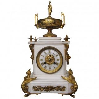 White Marble Mantel Clock by James Ritchie & Son, Edinburgh