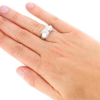 0.96ct Diamond and 18ct White Gold Dress Ring - Vintage Circa 1980