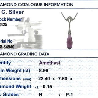 8.96 ct Amethyst and 0.15 ct Diamond, 18 ct Yellow Gold Necklace - Art Deco - Antique Circa 1920