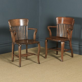 Antique Pair of English Edwardian / George V Oak Office Desk Arm Chairs (Circa 1910 - 1920)