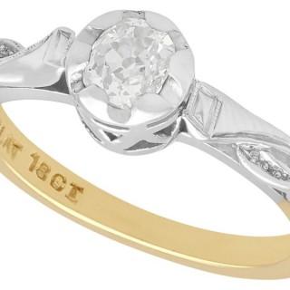 0.32 ct Diamond, 18ct Yellow Gold, Platinum Set Solitaire Ring - Antique Circa 1930