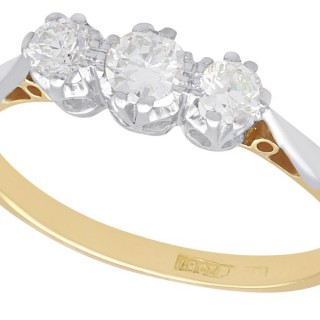 0.48 ct Diamond and 18 ct Yellow Gold, Platinum Set Trilogy Ring - Antique Circa 1930