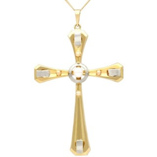 Seed Pearl and 18 ct Yellow Gold Cross Pendant - Vintage Circa 1940