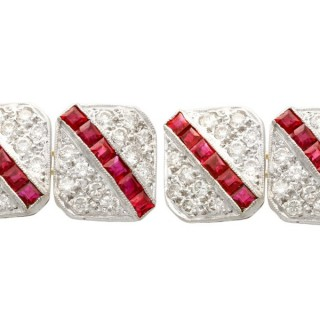 1.10 ct Ruby and 1.82 ct Diamond, 18ct White Gold Cufflinks - Vintage Circa 1980