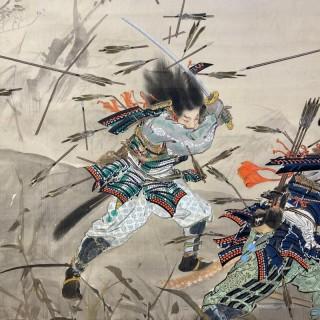 An eye-catching pair of painted Japanese screens depicting Samurai