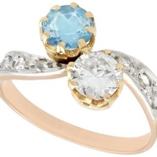 0.62ct Aquamarine and 0.69ct Diamond, 18 ct Yellow Gold Twist Ring - Antique Circa 1900