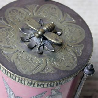 A Silver Plate & Pottery Classical Revival Preserve Pot by James Dixon & Sons c.1860-70