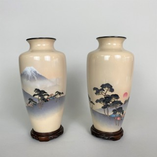 A fine pair of wireless Cloisonne vases depicting Mount Fuji and the rising Sun