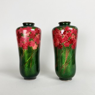 A delightful pair of Japanese Cloisonne vases by the Hayashi workshop