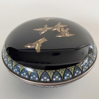 A miniature Japanese circular cloisonne box and cover