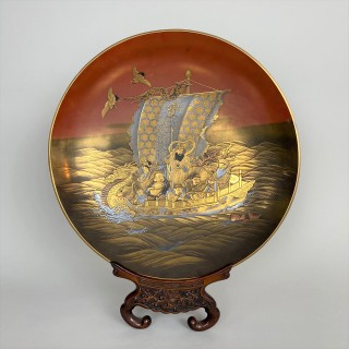 A fine Japanese lacquer dish depicting the Seven Lucky Gods aboard the Takarabune