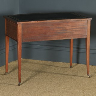 Antique Edwardian Regency Style Inlaid Mahogany & Leather Bow Front Ladies Writing Table Desk by S & H Jewell of London (Circa 1910)