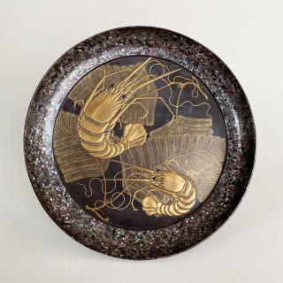 "A circular form, Japanese gold lacquer ""Offering Stand"" depicting shrimp (1868-1912)"