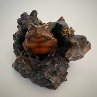 A charming and lifelike Bronze Okimono of a toad