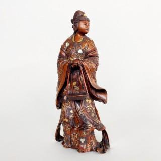 A fine wooden Okimono of Benten