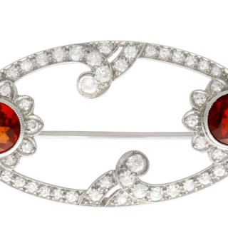 3.22ct Hessonite Garnet and 1.96ct Diamond, Platinum Brooch - Art Deco - Antique Circa 1935