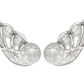3.25ct Diamond and 9ct White Gold Earrings - Art Deco - Antique Circa 1935