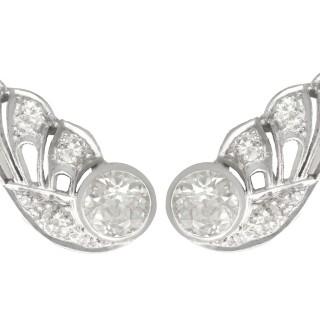 3.25ct Diamond and 9ct White Gold Earrings - Art Deco - Antique Circa 1935