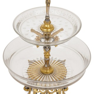 Napoleon III period silvered and gilt bronze centrepiece garniture by Picard