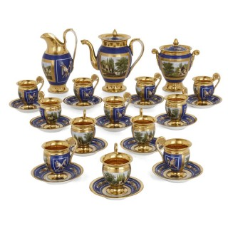 French Empire 27-piece porcelain coffee service