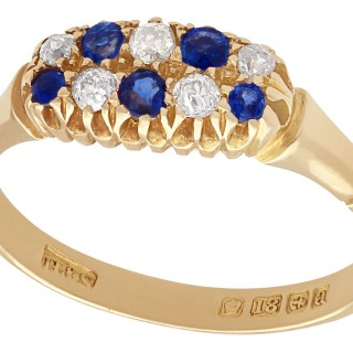 0.27 ct Sapphire and 0.25 ct Diamond, 18 ct Yellow Gold Dress Ring - Antique 1900