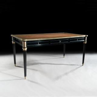 Fine French Ebonised and Brass Mounted Writing Desk With Lobed Corners