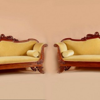 An Exceptional Pair Of Small Mahogany French/Italian  Sofa's.