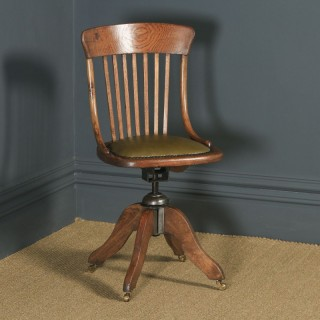 Antique English Edwardian Solid Oak & Green Leather Revolving Office Desk Chair (Circa 1910)
