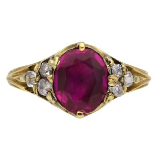 Victorian ruby and diamond ring, circa 1840.