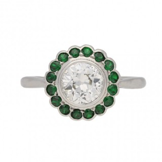 Diamond and demantoid garnet coronet cluster ring, circa 1935.