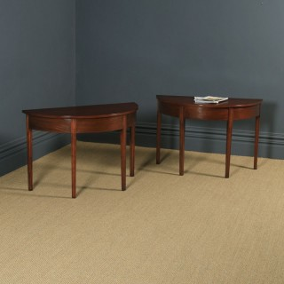 Pair of English Georgian Style Mahogany Demi Lune Console Side Hall Tables (Circa 1930)