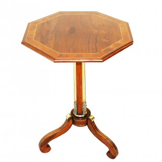 Regency 19th Century Rosewood & Brass Octagonal Lamp Table