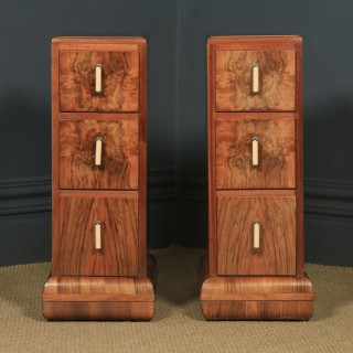 Antique English Pair of Art Deco Figured Walnut Bedside Chests / Cabinets / Nightstands (Circa 1930)
