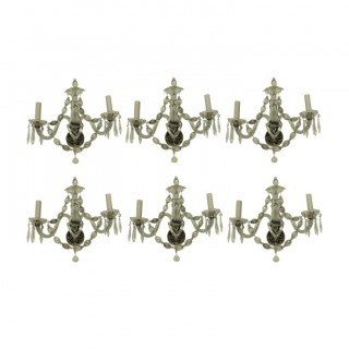 A SET OF SIX FRENCH GLASS WALL SCONCES