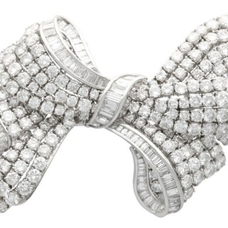 21.04ct Diamond and Platinum Bow Brooch - Vintage Circa 1955