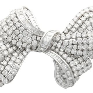 21.04ct Diamond and Platinum Bow Brooch - Vintage Circa 1955