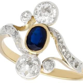 0.37 ct Sapphire and 0.83 ct Diamond, 14 ct Yellow Gold Twist Ring - Antique Circa 1930