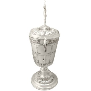 Sterling Silver Presentation/Champagne Cup and Cover - Art Nouveau - Antique Edwardian
