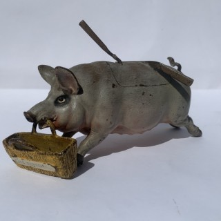19th century cold painted bronze pig