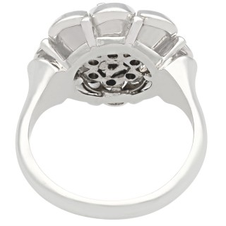 0.66 ct Diamond and 18 ct White Gold Cluster Ring - Vintage Circa 1950