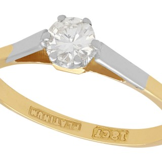 0.35 ct Diamond and 18 ct Yellow Gold Solitaire Ring - Vintage Circa 1950