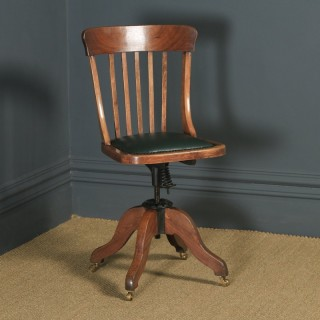 Antique English Edwardian Solid Beech & Green Leather Revolving Office Desk Chair (Circa 1910)
