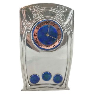 Arts & Crafts Tudric pewter and enamel 0369 clock by Archibald Knox for Liberty & Co