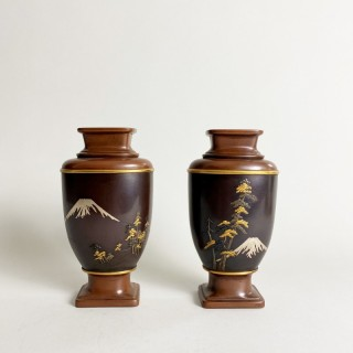 A stylish pair of miniature vases signed Nogawa