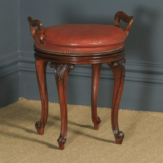 Antique English Victorian Walnut & Brown Leather Revolving Music / Dressing Table Stool (Circa 1880)
