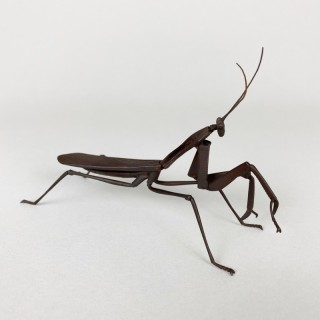 A wonderful Japanese Iron Jizai articulated Praying mantis